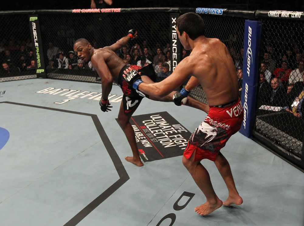 "TORONTO, ON - DECEMBER 10:  (L-R) Jon ""Bones"" Jones kicks Lyoto Machida during the UFC 140 event at Air Canada Centre on December 10, 2011 in Toronto, Ontario, Canada.  (Photo by Nick Laham/Zuffa LLC/Zuffa LLC via Getty Images)"