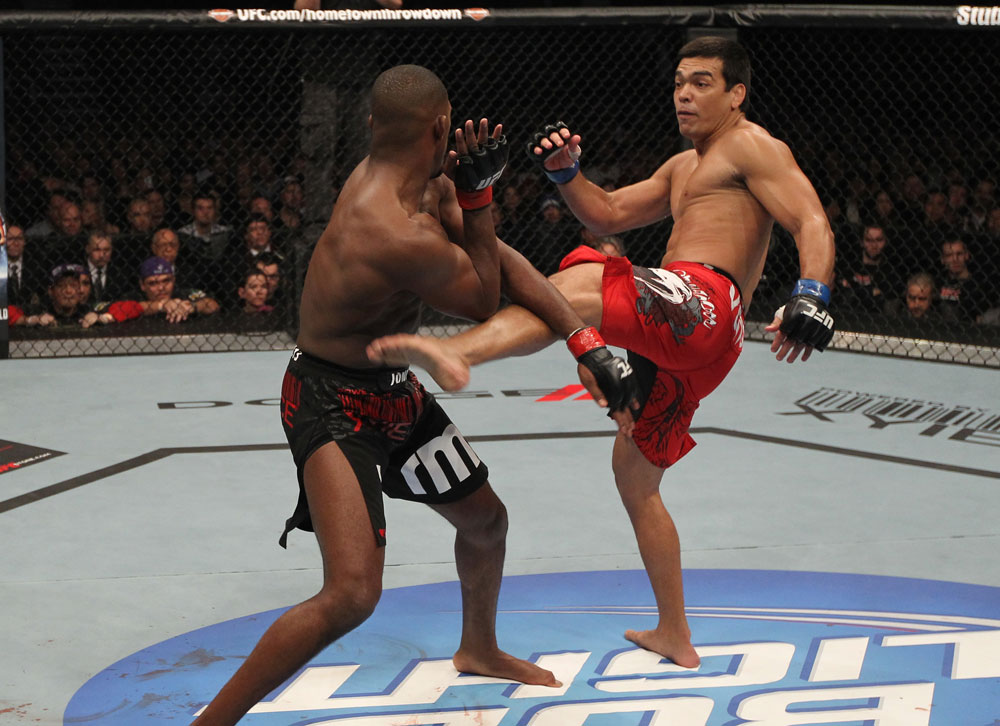 TORONTO, ON - DECEMBER 10:  (R-L) Lyoto Machida kicks Jon &quot;Bones&quot; Jones during the UFC 140 event at Air Canada Centre on December 10, 2011 in Toronto, Ontario, Canada.  (Photo by Nick Laham/Zuffa LLC/Zuffa LLC via Getty Images)