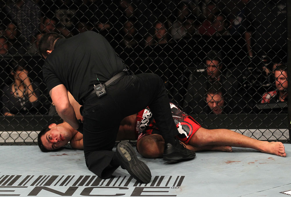 TORONTO, ON - DECEMBER 10:  Lyoto Machida lies on the canvas unconscious after being defeated by Jon &quot;Bones&quot; Jones during the UFC 140 event at Air Canada Centre on December 10, 2011 in Toronto, Ontario, Canada.  (Photo by Nick Laham/Zuffa LLC/Zuffa LLC via Getty Images)