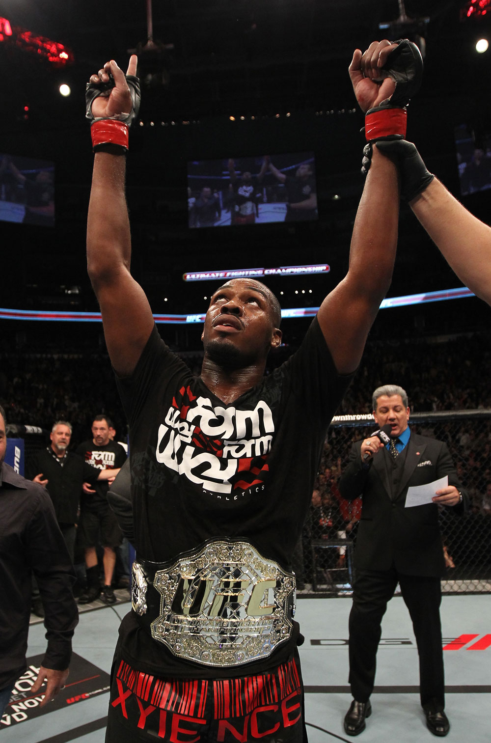 "TORONTO, ON - DECEMBER 10:  UFC Light Heavyweight Champion Jon ""Bones"" Jones reacts after defeating Lyoto Machida during the UFC 140 event at Air Canada Centre on December 10, 2011 in Toronto, Ontario, Canada.  (Photo by Nick Laham/Zuffa LLC/Zuffa LLC via Getty Images)"