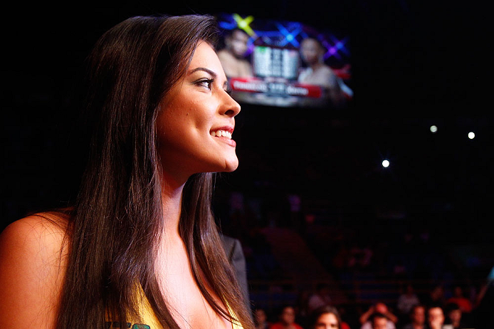 SAO PAULO, BRAZIL - JANUARY 19:  UFC Octagon Girl Camila Rodrigues de Oliveira looks on during the UFC on FX event on January 19, 2013 at Ibirapuera Gymnasium in Sao Paulo, Brazil. (Photo by Josh Hedges/Zuffa LLC/Zuffa LLC via Getty Images)