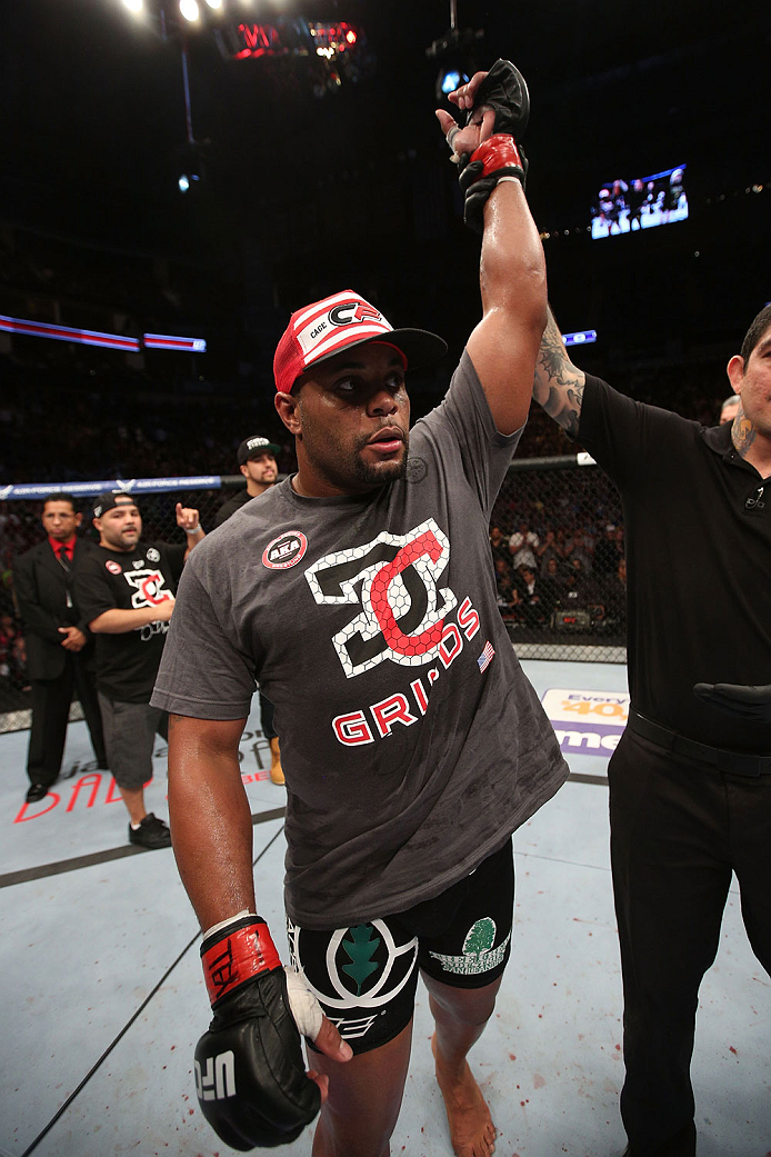 HOUSTON, TEXAS - OCTOBER 19:  Daniel Cormier celebrates after defeating Roy 'Big Country' Nelson (not pictured) in their UFC heavyweight bout at the Toyota Center on October 19, 2013 in Houston, Texas. (Photo by Nick Laham/Zuffa LLC/Zuffa LLC via Getty Images)
