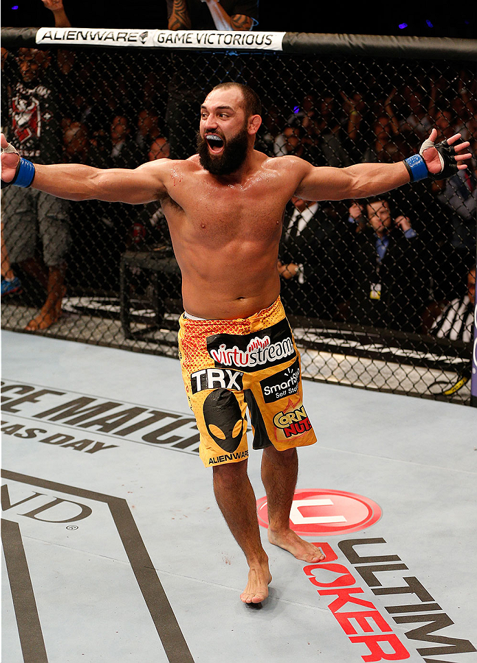 LAS VEGAS, NV - NOVEMBER 16:  Johny Hendricks reacts after his fight against Georges St-Pierre during the UFC 167 event inside the MGM Grand Garden Arena on November 16, 2013 in Las Vegas, Nevada. (Photo by Josh Hedges/Zuffa LLC/Zuffa LLC via Getty Images) *** Local Caption ***\Johny Hendricks
