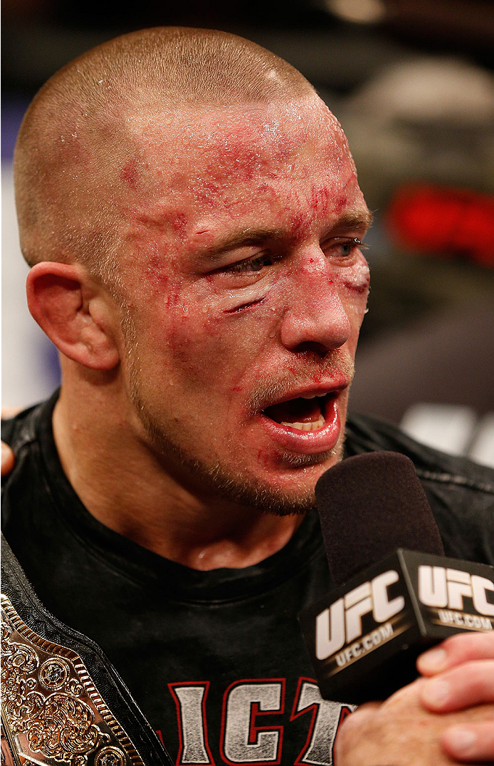 LAS VEGAS, NV - NOVEMBER 16:  Georges St-Pierre is interviewed during the UFC 167 event inside the MGM Grand Garden Arena on November 16, 2013 in Las Vegas, Nevada. (Photo by Josh Hedges/Zuffa LLC/Zuffa LLC via Getty Images) *** Local Caption *** Georges St-Pierre