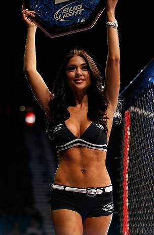 LAS VEGAS, NV - MAY 25:   UFC Octagon Girl Arianny Celeste introduces round two of Bowles vs Roop in their bantamweight bout during UFC 160 at the MGM Grand Garden Arena on May 25, 2013 in Las Vegas, Nevada.  (Photo by Josh Hedges/Zuffa LLC/Zuffa LLC via Getty Images)  *** Local Caption *** Arianny Celeste