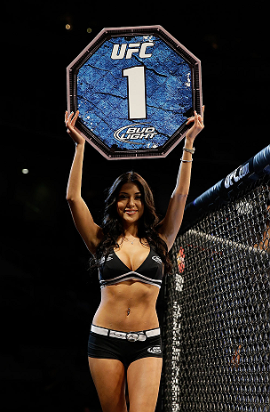 SAN JOSE, CA - APRIL 20:   UFC Octagon Girl Arianny Celeste introduces round one of Njokuani vs Bowling in their lightweight bout during the UFC on FOX event at the HP Pavilion on April 20, 2013 in San Jose, California.  (Photo by Ezra Shaw/Zuffa LLC/Zuffa LLC via Getty Images)  *** Local Caption *** Arianny Celeste