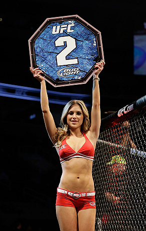 SAN JOSE, CA - APRIL 20:   UFC Octagon Girl Brittney Palmer introduces round town of Njokuani vs Bowling in their lightweight bout during the UFC on FOX event at the HP Pavilion on April 20, 2013 in San Jose, California.  (Photo by Ezra Shaw/Zuffa LLC/Zuffa LLC via Getty Images)  *** Local Caption *** Anthony Njokuani; Roger Bowling