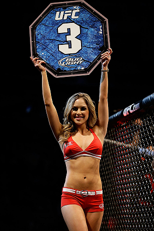 SAN JOSE, CA - APRIL 20:   UFC Octagon Girl Brittney Palmer introduces round three of Carmont vs Larkin in their middleweight bout during the UFC on FOX event at the HP Pavilion on April 20, 2013 in San Jose, California.  (Photo by Ezra Shaw/Zuffa LLC/Zuffa LLC via Getty Images)  *** Local Caption *** Francis Carmont; Lorenz Larkin