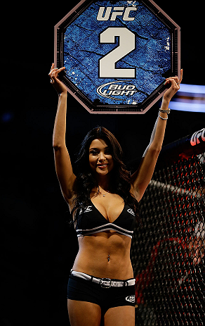 SAN JOSE, CA - APRIL 20:   UFC Octagon Girl Arianny Celeste introduces round two of Carmont vs Larkin in their middleweight bout during the UFC on FOX event at the HP Pavilion on April 20, 2013 in San Jose, California.  (Photo by Ezra Shaw/Zuffa LLC/Zuffa LLC via Getty Images)  *** Local Caption *** Francis Carmont; Lorenz Larkin