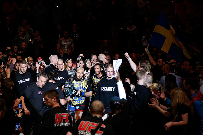 STOCKHOLM, SWEDEN - APRIL 06:  Ilir Latifi enters the arena before his light heavyweight fight against Gegard Mousasi at the Ericsson Globe Arena on April 6, 2013 in Stockholm, Sweden.  (Photo by Josh Hedges/Zuffa LLC/Zuffa LLC via Getty Images)