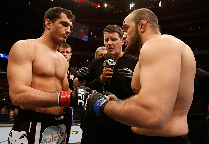 STOCKHOLM, SWEDEN - APRIL 06:  (L-R) Opponents Gegard Mousasi and Ilir Latifi face off before their light heavyweight fight at the Ericsson Globe Arena on April 6, 2013 in Stockholm, Sweden.  (Photo by Josh Hedges/Zuffa LLC/Zuffa LLC via Getty Images)