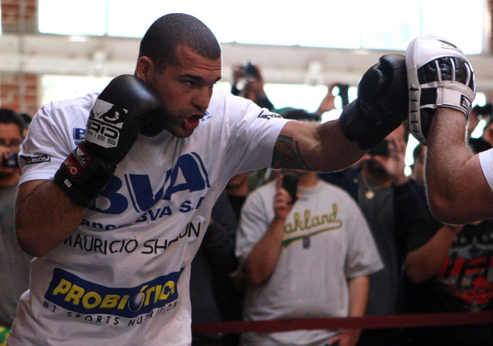 "SAN JOSE, CA - NOVEMBER 16:  Mauricio ""Shogun"" Rua works out for the fans and media during the UFC 139 open workouts at the Heroes Martial Arts Gym on November 16, 2011 in San Jose, California.  (Photo by Josh Hedges/Zuffa LLC/Zuffa LLC via Getty Images)"