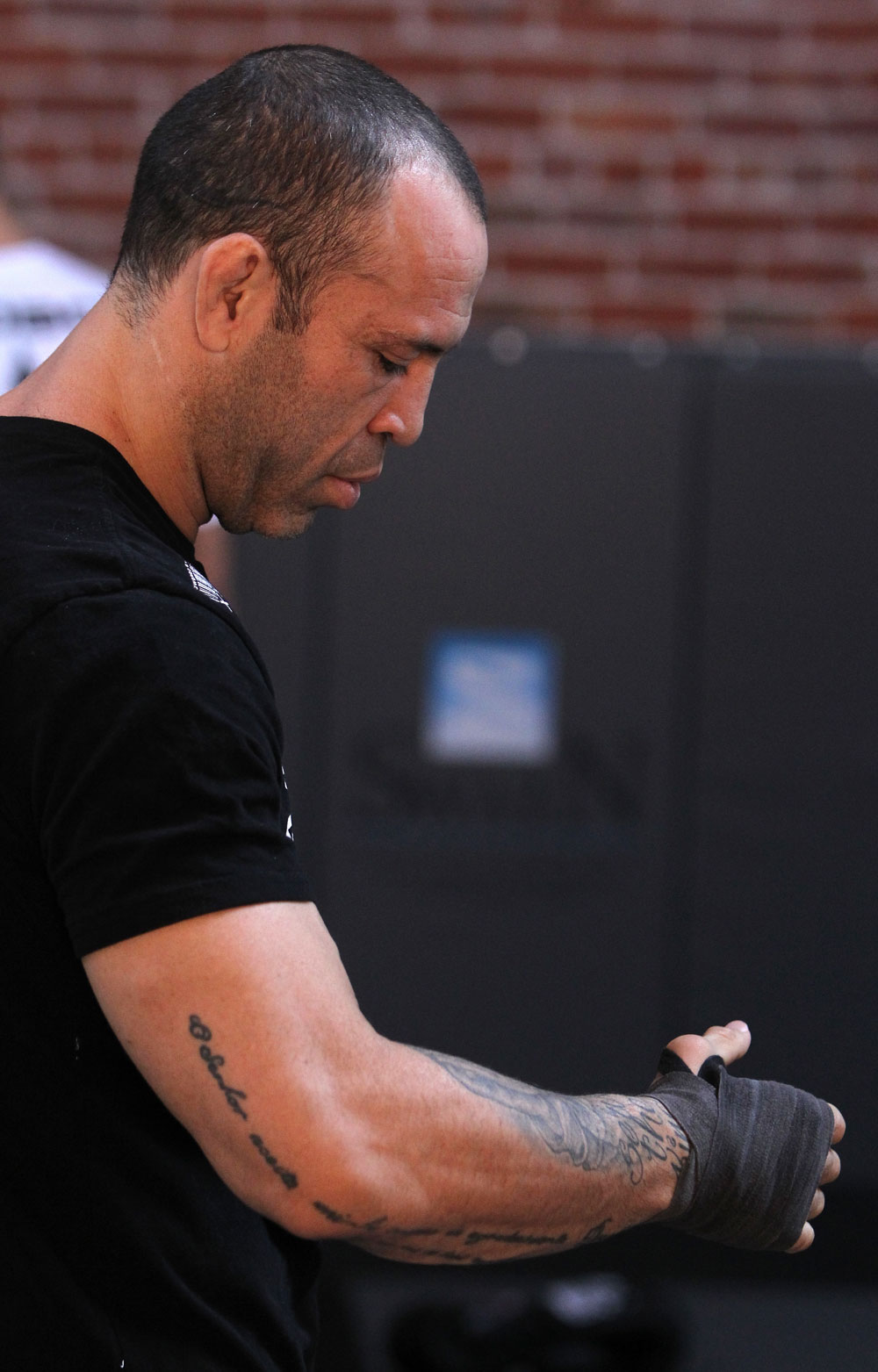 SAN JOSE, CA - NOVEMBER 16:  Wanderlei Silva wraps his hands before working out for the fans and media during the UFC 139 open workouts at the Heroes Martial Arts Gym on November 16, 2011 in San Jose, California.  (Photo by Josh Hedges/Zuffa LLC/Zuffa LLC via Getty Images)