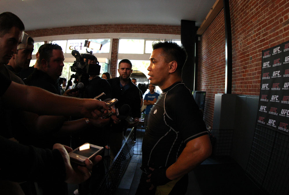 SAN JOSE, CA - NOVEMBER 16:  Cung Le answers questions from the media during the UFC 139 open workouts at the Heroes Martial Arts Gym on November 16, 2011 in San Jose, California.  (Photo by Josh Hedges/Zuffa LLC/Zuffa LLC via Getty Images)