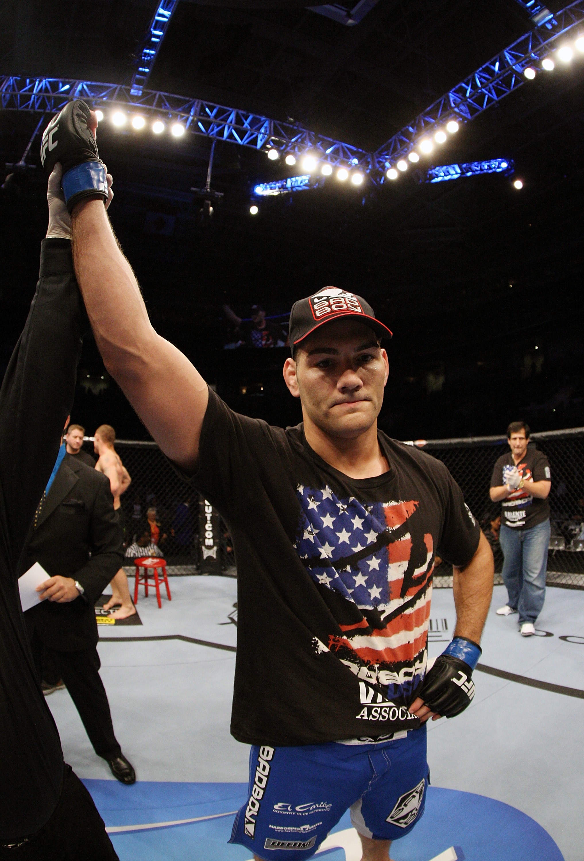 SAN JOSE, CA - NOVEMBER 19: Chris Weidman celebrates his win over Tom Lawlor  at the HP Pavilion on November 19, 2011 in San Jose, California.  (Photo by Josh Hedges/Zuffa LLC/Zuffa LLC via Getty Images)