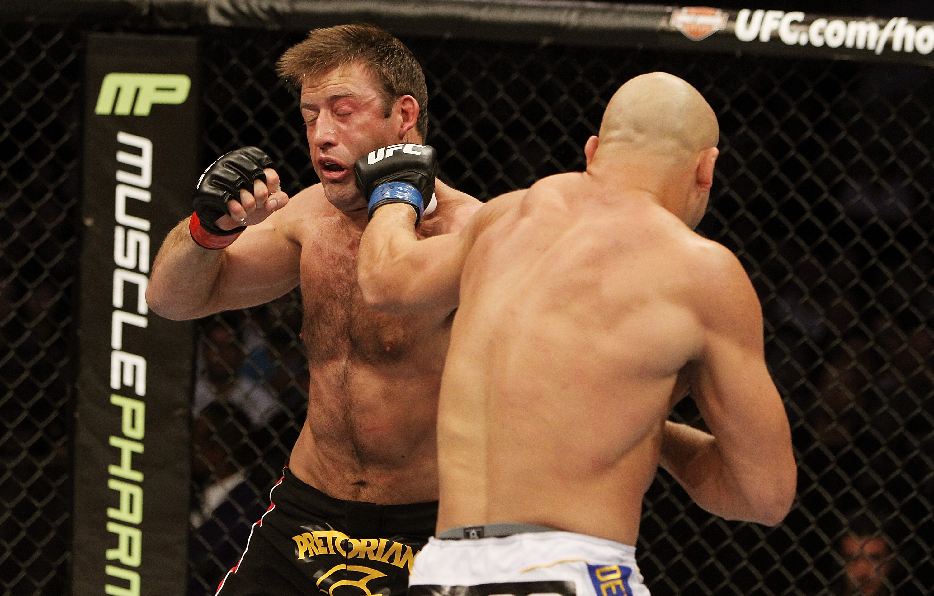 SAN JOSE, CA - NOVEMBER 19: (R-L) Kyle Kingsbury punches Stephan Bonnar during an UFC Light Heavywieght bout at the HP Pavilion on November 19, 2011 in San Jose, California.  (Photo by Josh Hedges/Zuffa LLC/Zuffa LLC via Getty Images)
