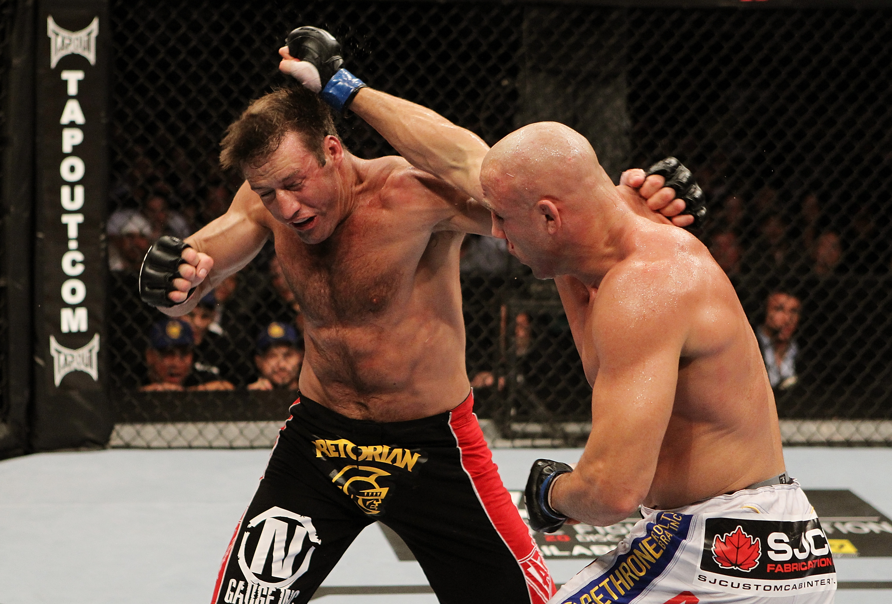 SAN JOSE, CA - NOVEMBER 19: (L-R) Stephan Bonnar dodges the punch of Kyle Kingsbury during an UFC Light Heavywieght bout at the HP Pavilion on November 19, 2011 in San Jose, California.  (Photo by Josh Hedges/Zuffa LLC/Zuffa LLC via Getty Images)