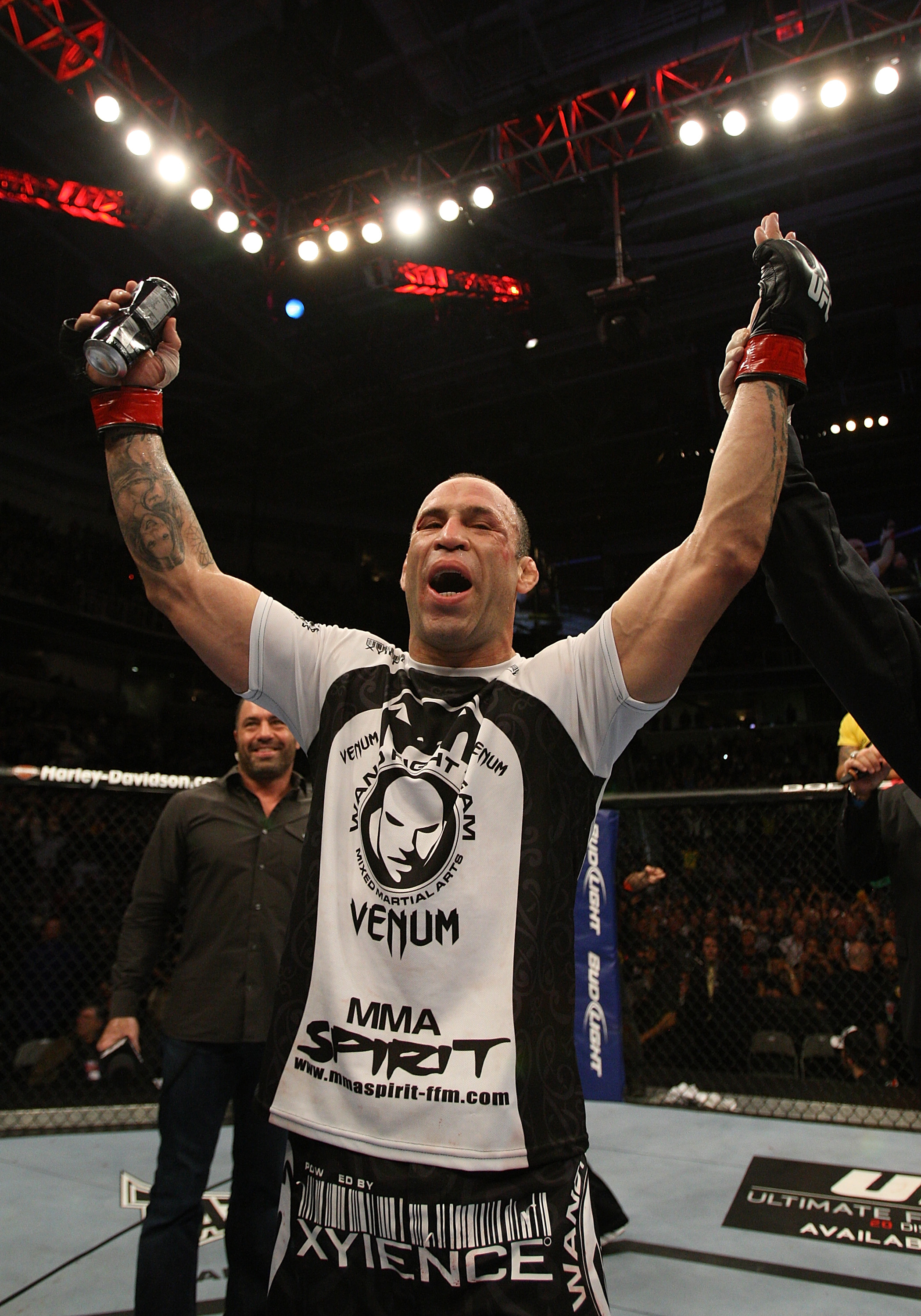 SAN JOSE, CA - NOVEMBER 19: Wanderlei Silva celebrates defeating Cung Le during an UFC Middleweight bout at the HP Pavillion on November 19, 2011 in San Jose, California.  (Photo by Josh Hedges/Zuffa LLC/Zuffa LLC via Getty Images)
