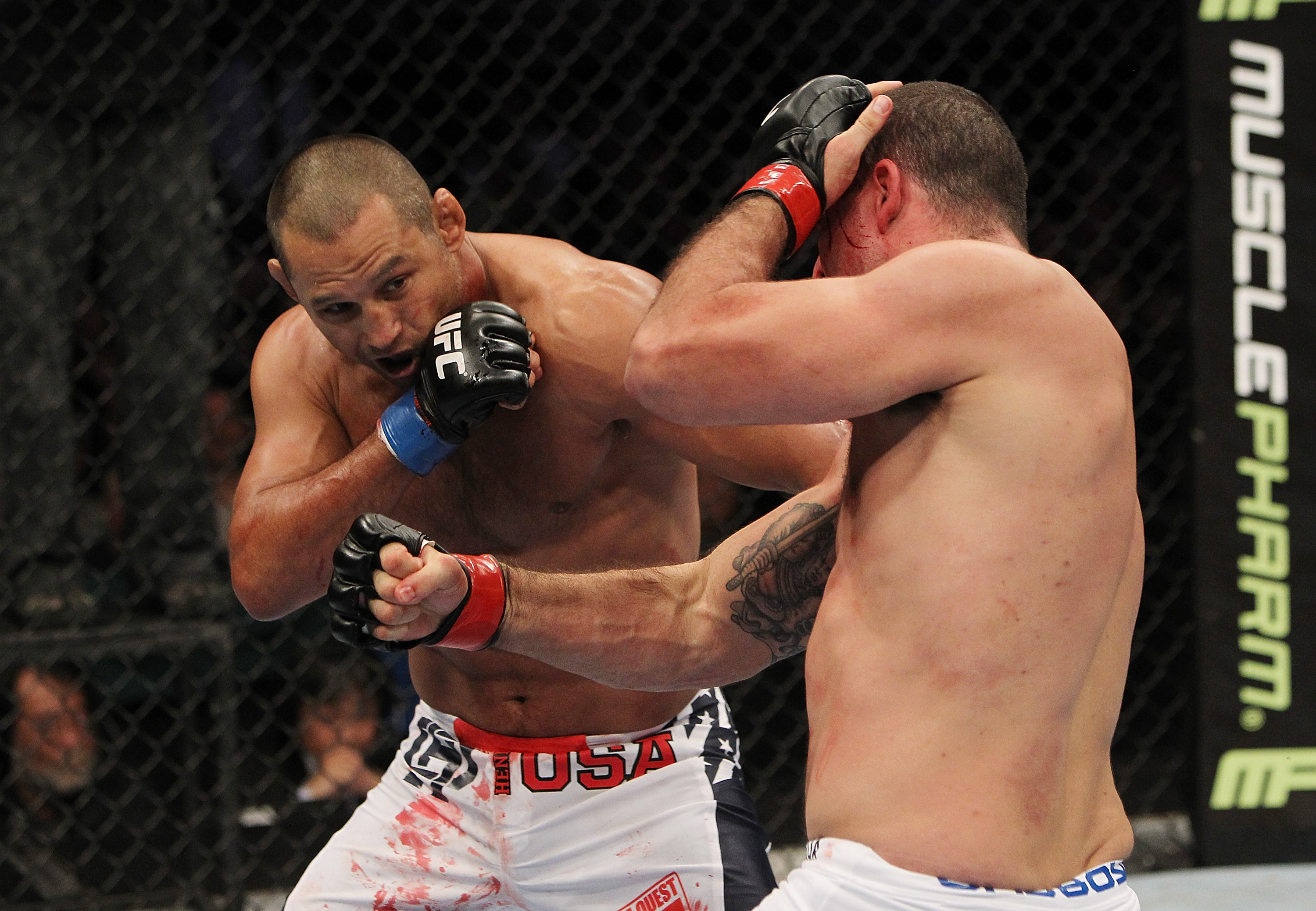 SAN JOSE, CA - NOVEMBER 19: Mauricio Rua and Dan Henderson wrap each other up during an UFC Light Heavyweight bout at the HP Pavillion on November 19, 2011 in San Jose, California.  (Photo by Josh Hedges/Zuffa LLC/Zuffa LLC via Getty Images)