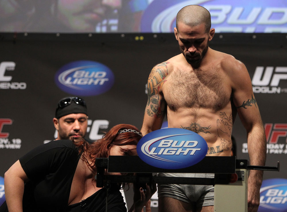 SAN JOSE, CA - NOVEMBER 18:  Matt Brown weighs in during the UFC 139 Weigh In at the HP Pavilion on November 18, 2011 in San Jose, California.  (Photo by Josh Hedges/Zuffa LLC/Zuffa LLC via Getty Images)