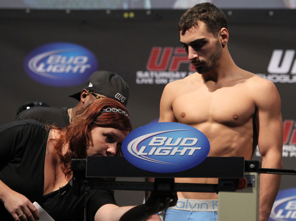 SAN JOSE, CA - NOVEMBER 18:  Nick Pace weighs in during the UFC 139 Weigh In at the HP Pavilion on November 18, 2011 in San Jose, California.  (Photo by Josh Hedges/Zuffa LLC/Zuffa LLC via Getty Images)