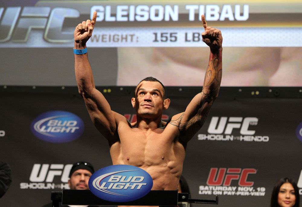 SAN JOSE, CA - NOVEMBER 18:  Gleison Tibau weighs in during the UFC 139 Weigh In at the HP Pavilion on November 18, 2011 in San Jose, California.  (Photo by Josh Hedges/Zuffa LLC/Zuffa LLC via Getty Images)