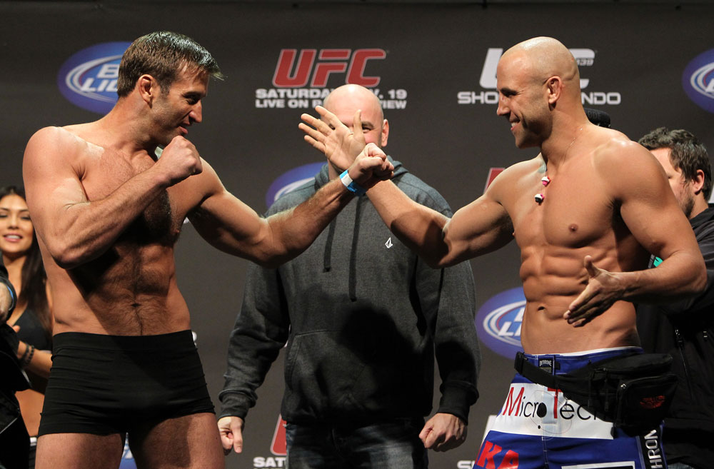 SAN JOSE, CA - NOVEMBER 18:  (L-R) Light Heavyweight opponents Stephan Bonnar and Kyle Kingsbury face off after weighing in during the UFC 139 Weigh In at the HP Pavilion on November 18, 2011 in San Jose, California.  (Photo by Josh Hedges/Zuffa LLC/Zuffa LLC via Getty Images)