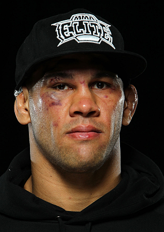 LONDON, ENGLAND - FEBRUARY 16:  James Te Huna poses for a portrait after his victory over Ryan Jimmo during the UFC on Fuel TV event on February 16, 2013 at Wembley Arena in London, England.  (Photo by Mike Roach/Zuffa LLC/Zuffa LLC via Getty Images)