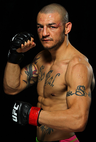 LONDON, ENGLAND - FEBRUARY 16:  Cub Swanson poses for a portrait after his victory over Dustin Poirier during the UFC on Fuel TV event on February 16, 2013 at Wembley Arena in London, England.  (Photo by Mike Roach/Zuffa LLC/Zuffa LLC via Getty Images)