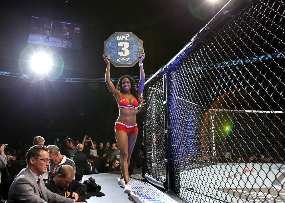 TORONTO, ON - DECEMBER 10:  UFC Octagon Girl Chandella Powell introduces round three during the Watson v Jabouin bout during the UFC 140 event at Air Canada Centre on December 10, 2011 in Toronto, Canada.  (Photo by Josh Hedges/Zuffa LLC/Zuffa LLC via Getty Images)