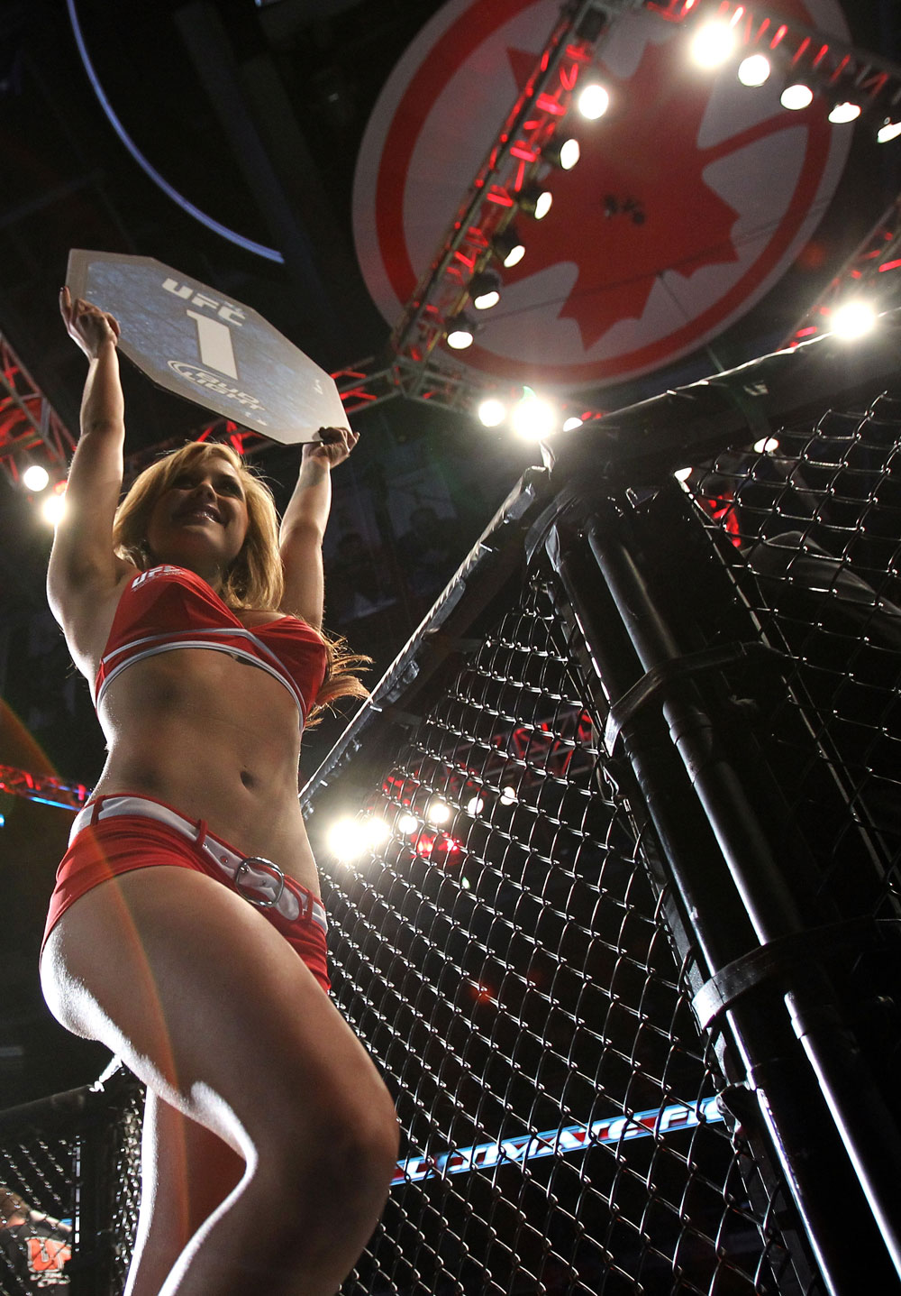 TORONTO, ON - DECEMBER 10:  UFC Octagon Girl Brittney Palmer introduces round one before the Bocek v Lentz bout during the UFC 140 event at Air Canada Centre on December 10, 2011 in Toronto, Ontario, Canada.  (Photo by Josh Hedges/Zuffa LLC/Zuffa LLC via Getty Images)
