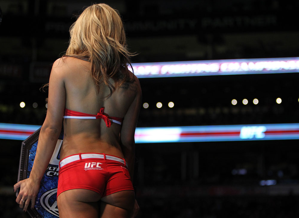 TORONTO, ON - DECEMBER 10:  UFC Octagon Girl Brittney Palmer introduces round one during the Soszynski v Pokrajac bout during the UFC 140 event at Air Canada Centre on December 10, 2011 in Toronto, Ontario, Canada.  (Photo by Josh Hedges/Zuffa LLC/Zuffa LLC via Getty Images)