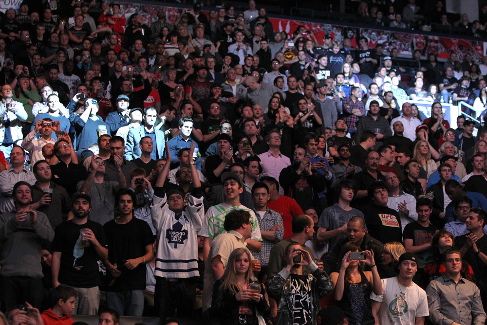 TORONTO, ON - DECEMBER 10:  A general view of fans cheering during the UFC 140 event at Air Canada Centre on December 10, 2011 in Toronto, Ontario, Canada.  (Photo by Josh Hedges/Zuffa LLC/Zuffa LLC via Getty Images)