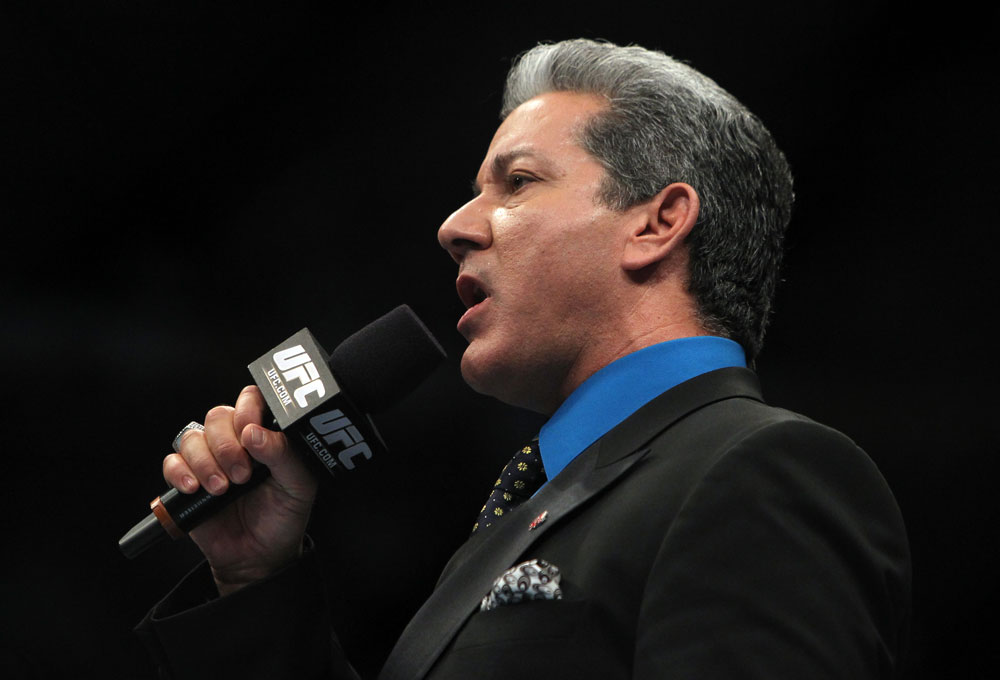 TORONTO, ON - DECEMBER 10:  Octagon announcer Bruce Buffer introduces the fighters during the first bout of the evening during the UFC 140 event at Air Canada Centre on December 10, 2011 in Toronto, Ontario, Canada.  (Photo by Josh Hedges/Zuffa LLC/Zuffa LLC via Getty Images)