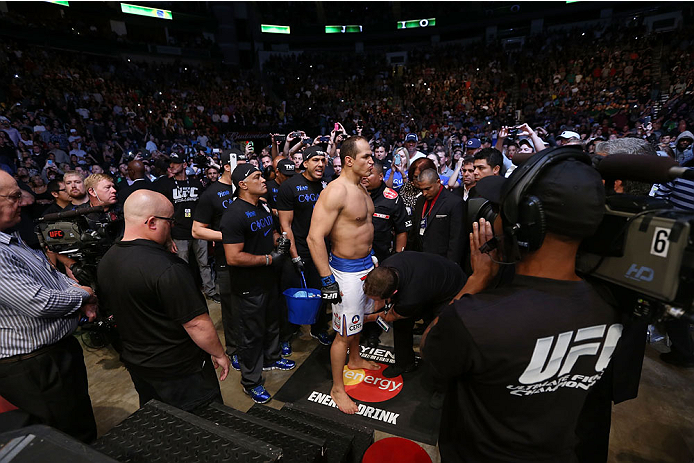 HOUSTON, TEXAS - OCTOBER 19:  Junior Dos Santos enters the arena before facing Cain Velasquez in their UFC heavyweight championship bout at the Toyota Center on October 19, 2013 in Houston, Texas. (Photo by Nick Laham/Zuffa LLC/Zuffa LLC via Getty Images)