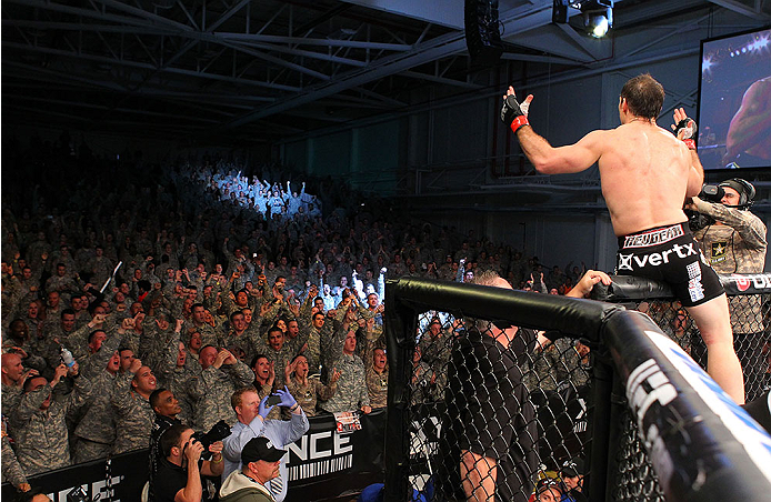 FORT CAMPBELL, KENTUCKY - NOVEMBER 6:  Tim Kennedy (right) reacts to his knockout victory over Rafael Natal in their UFC middleweight bout on November 6, 2013 in Fort Campbell, Kentucky. (Photo by Ed Mulholland/Zuffa LLC/Zuffa LLC via Getty Images) *** Local Caption ***Tim Kennedy; Rafael Natal