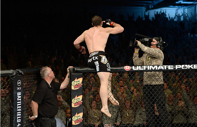 FORT CAMPBELL, KENTUCKY - NOVEMBER 6:  Tim Kennedy reacts to his knockout victory over Rafael Natal in their UFC middleweight bout on November 6, 2013 in Fort Campbell, Kentucky. (Photo by Jeff Bottari/Zuffa LLC/Zuffa LLC via Getty Images) *** Local Caption ***Tim Kennedy; Rafael Natal