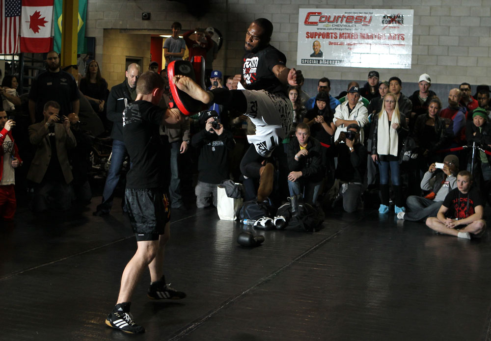 "TORONTO, ON - DECEMBER 07:  UFC Light Heavyweight Champion Jon ""Bones"" Jones works out for the fans and media during the UFC 140 Open Workouts at the Xtreme Couture Gym on December 7, 2011 in Toronto, Ontario.  (Photo by Josh Hedges/Zuffa LLC/Zuffa LLC via Getty Images)"