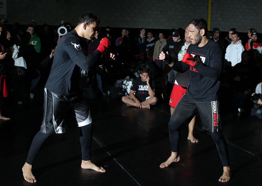 "TORONTO, ON - DECEMBER 07:  (L-R) Twin brothers Antonio Rodrigo ""Minotauro"" Nogueira and Antonio Rogerio ""Minotoro"" Nogueira workout together during the UFC 140 Open Workouts at the Xtreme Couture Gym on December 7, 2011 in Toronto, Ontario.  (Photo by Josh Hedges/Zuffa LLC/Zuffa LLC via Getty Images)"
