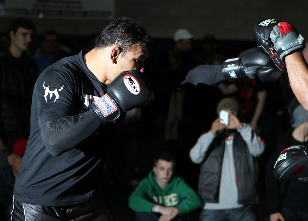 TORONTO, ON - DECEMBER 07:  Antonio Rodrigo &quot;Minotauro&quot; Nogueira works out for the fans and media during the UFC 140 Open Workouts at the Xtreme Couture Gym on December 7, 2011 in Toronto, Ontario.  (Photo by Josh Hedges/Zuffa LLC/Zuffa LLC via Getty Images)