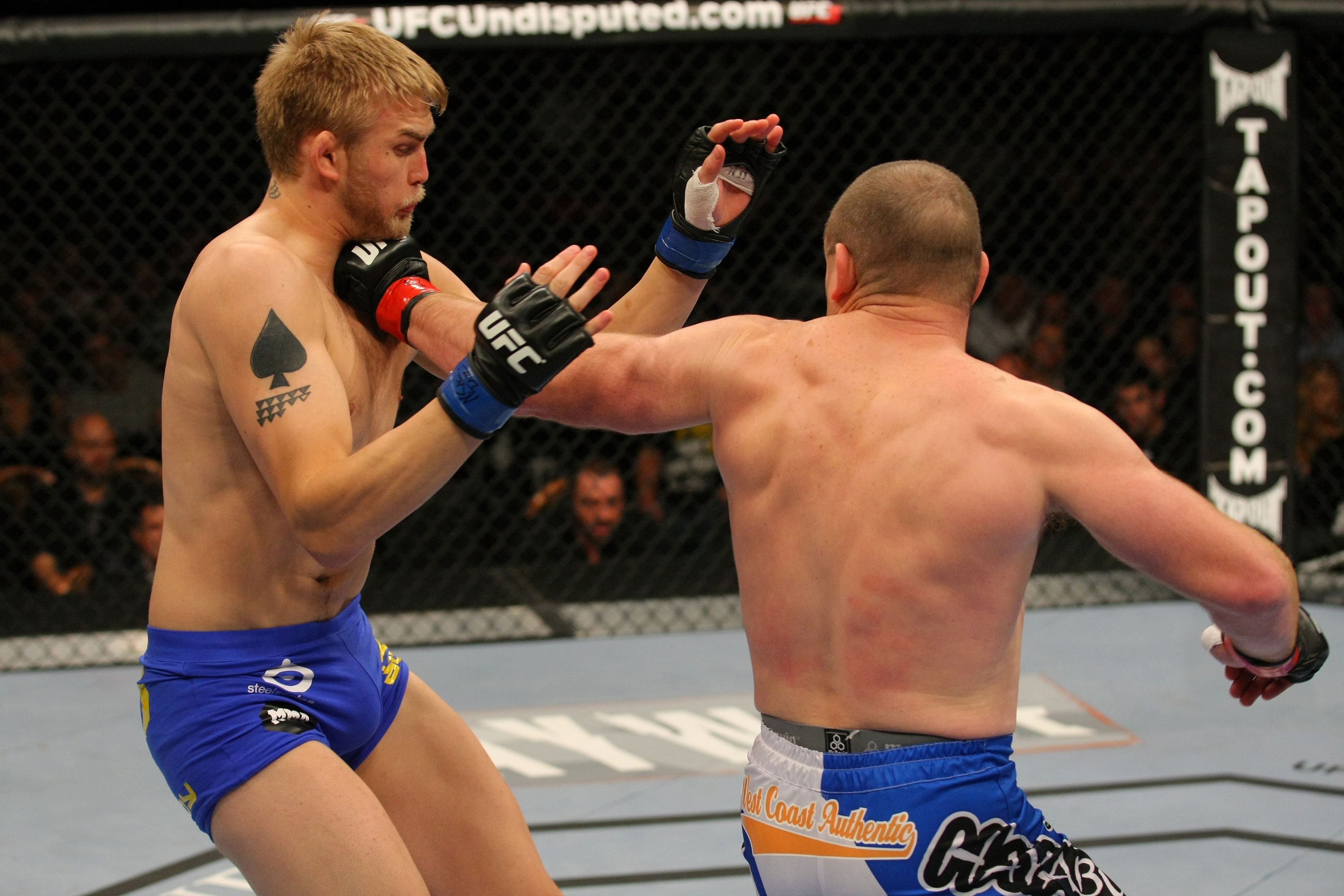 LAS VEGAS, NV - DECEMBER 30:  Vladimir Matyushenko (right) punches Alexander Gustafsson during the UFC 141 event at the MGM Grand Garden Arena on December 30, 2011 in Las Vegas, Nevada.  (Photo by Donald Miralle/Zuffa LLC/Zuffa LLC via Getty Images) *** Local Caption *** Vladimir Matyushenko; Alexander Gustafsson