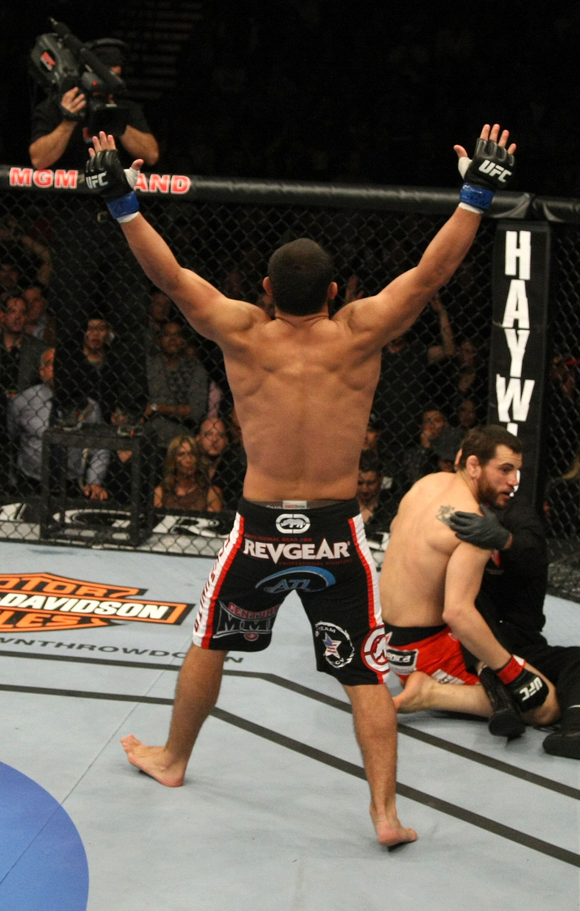 LAS VEGAS, NV - DECEMBER 30:  Johny Hendricks celebrates his knockout victory against Jon Fitch during the UFC 141 event at the MGM Grand Garden Arena on December 30, 2011 in Las Vegas, Nevada.  (Photo by Donald Miralle/Zuffa LLC/Zuffa LLC via Getty Images) *** Local Caption *** Johny Hendricks
