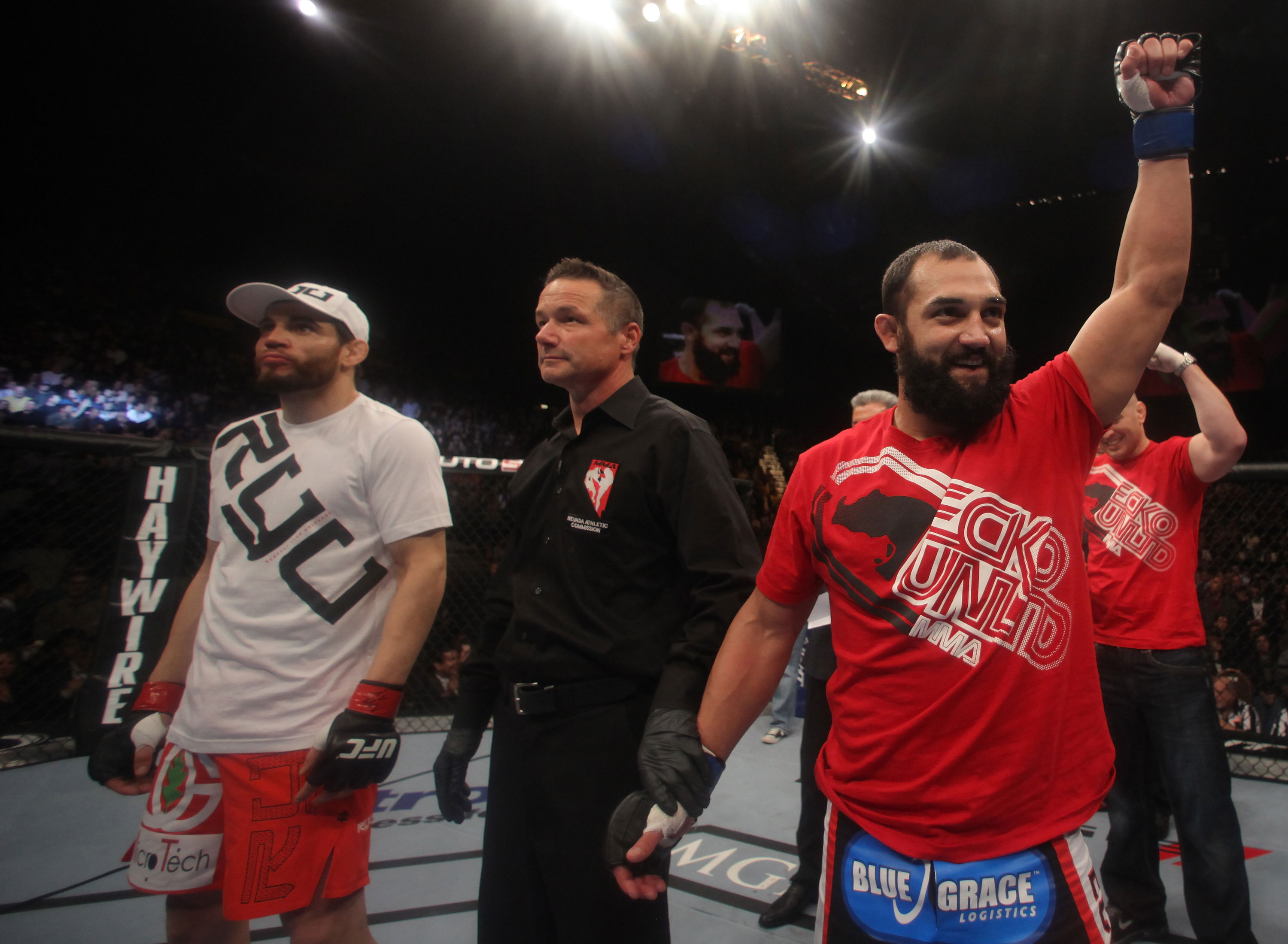 LAS VEGAS, NV - DECEMBER 30:  Johny Hendricks (right) and Jon Fitch (left) await the official decision of their fight during the UFC 141 event at the MGM Grand Garden Arena on December 30, 2011 in Las Vegas, Nevada.  (Photo by Donald Miralle/Zuffa LLC/Zuffa LLC via Getty Images) *** Local Caption *** Johny Hendricks; Jon Fitch