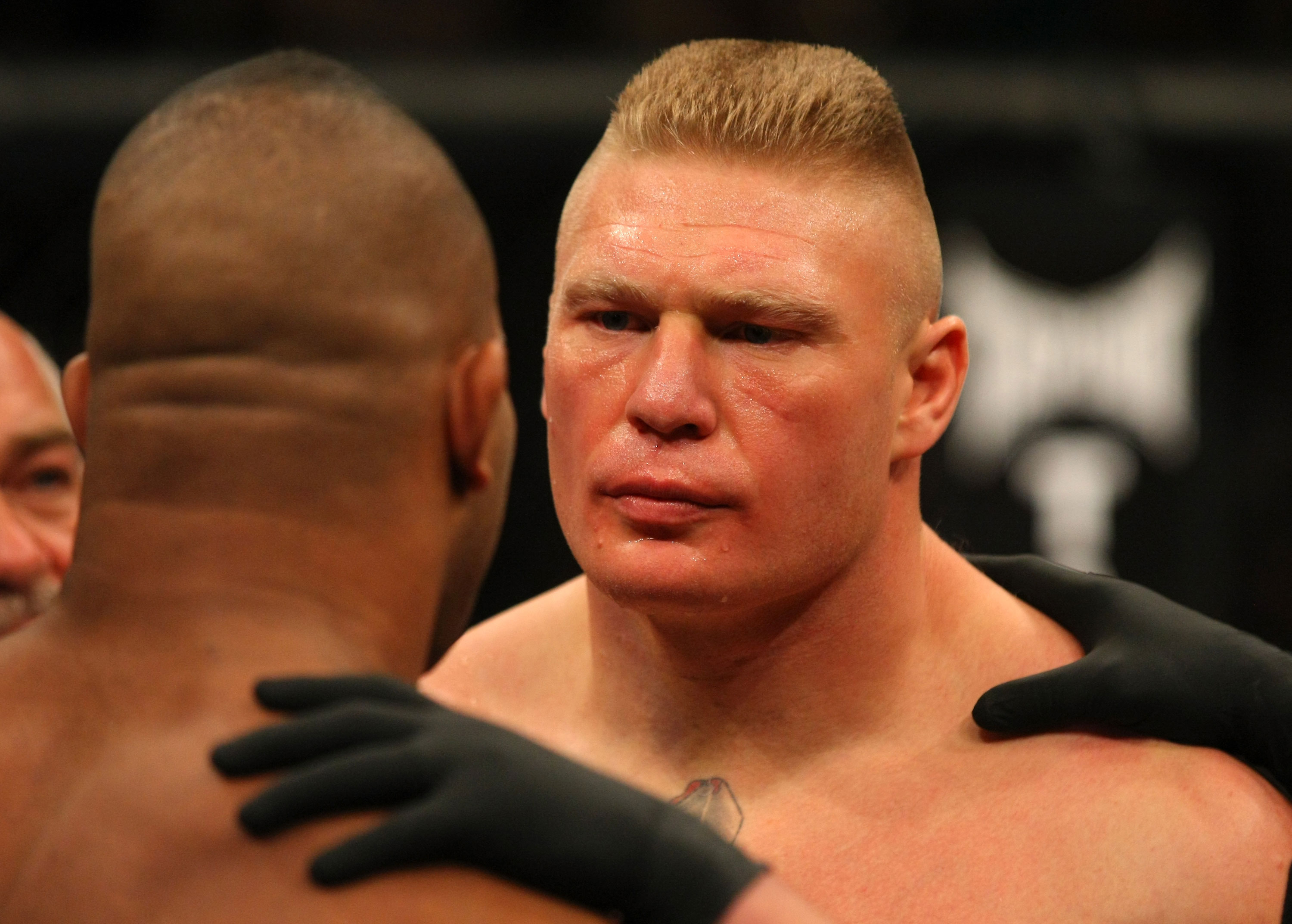 LAS VEGAS, NV - DECEMBER 30:  Brock Lesnar (right) faces off with Alistair Overeem (left) before their fight during the UFC 141 event at the MGM Grand Garden Arena on December 30, 2011 in Las Vegas, Nevada.  (Photo by Donald Miralle/Zuffa LLC/Zuffa LLC via Getty Images) *** Local Caption *** Brock Lesnar; Alistair Overeem