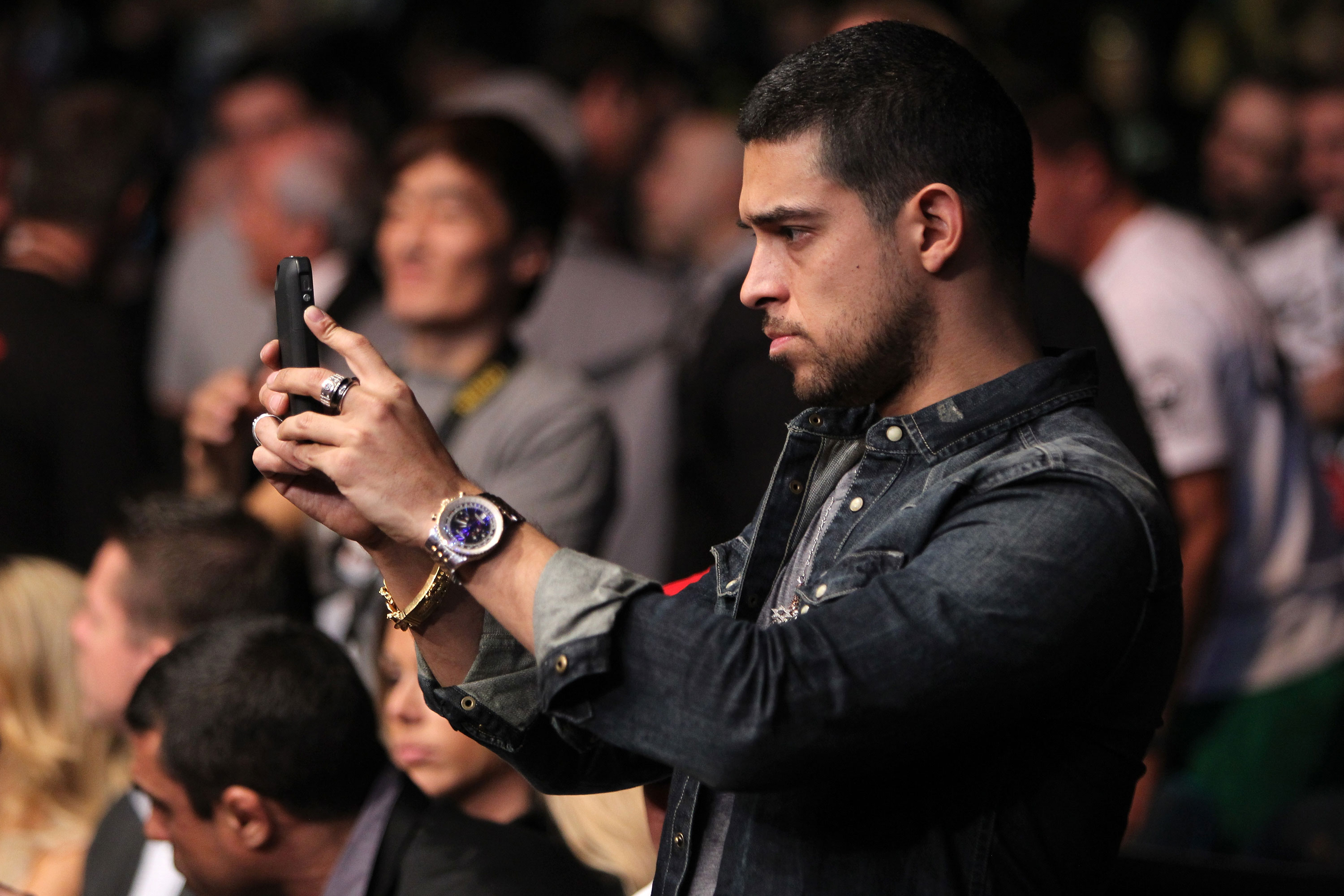 LAS VEGAS, NV - DECEMBER 30:  Wilmer Valderrama watches the action during the UFC 141 event at the MGM Grand Garden Arena on December 30, 2011 in Las Vegas, Nevada.  (Photo by Josh Hedges/Zuffa LLC/Zuffa LLC via Getty Images) *** Local Caption *** Wilmer Valderrama