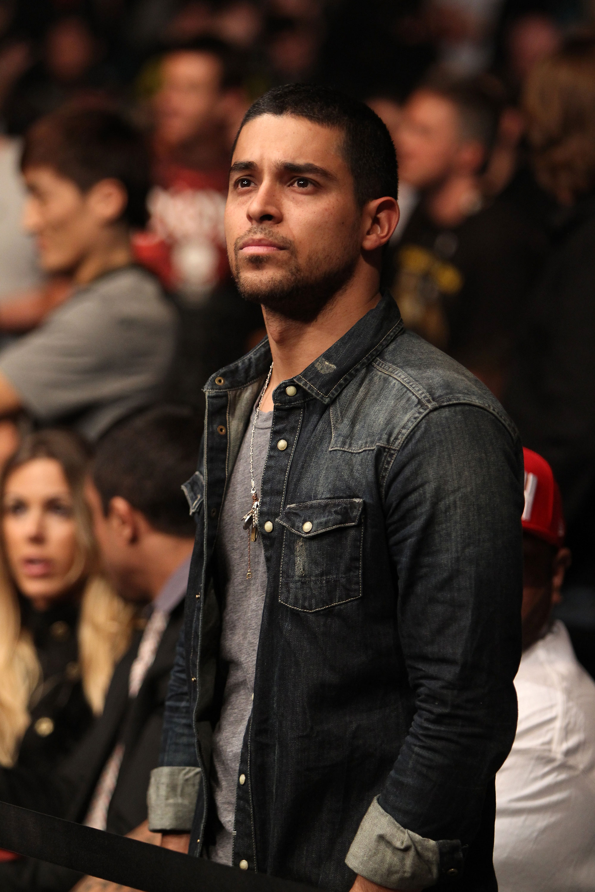 LAS VEGAS, NV - DECEMBER 30:  Wilmer Valderrama watches the Jon Fitch/Johny Hendricks fight during the UFC 141 event at the MGM Grand Garden Arena on December 30, 2011 in Las Vegas, Nevada.  (Photo by Josh Hedges/Zuffa LLC/Zuffa LLC via Getty Images) *** Local Caption *** Wilmer Valderrama