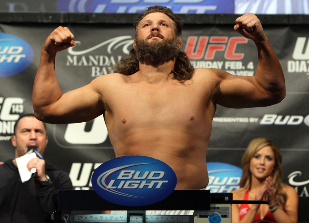 LAS VEGAS, NV - FEBRUARY 03:  Roy Nelson weighs in during the UFC 143 official weigh in at Mandalay Bay Events Center on February 3, 2012 in Las Vegas, Nevada.|2:55:8  (Photo by Josh Hedges/Zuffa LLC/Zuffa LLC via Getty Images) *** Local Caption *** Roy Nelson