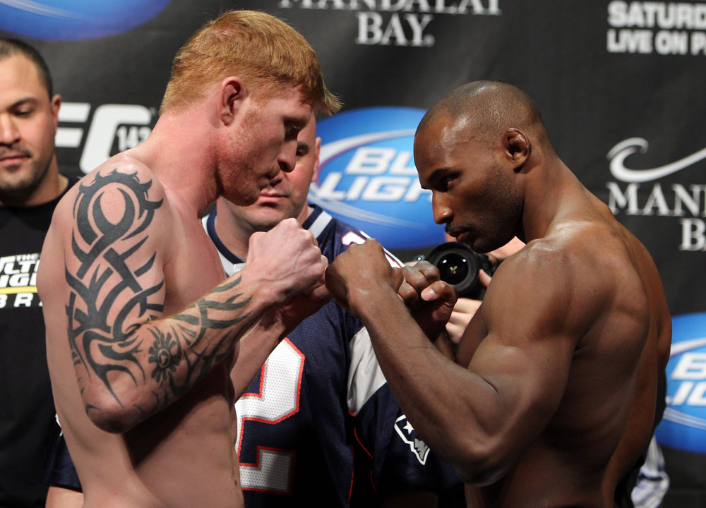 LAS VEGAS, NV - FEBRUARY 03:  (L-R) Middleweight opponents Ed Herman and Clifford Starks face off after weighing in during the UFC 143 official weigh in at Mandalay Bay Events Center on February 3, 2012 in Las Vegas, Nevada.|2:55:8  (Photo by Josh Hedges/Zuffa LLC/Zuffa LLC via Getty Images) *** Local Caption *** Ed Herman; Clifford Starks