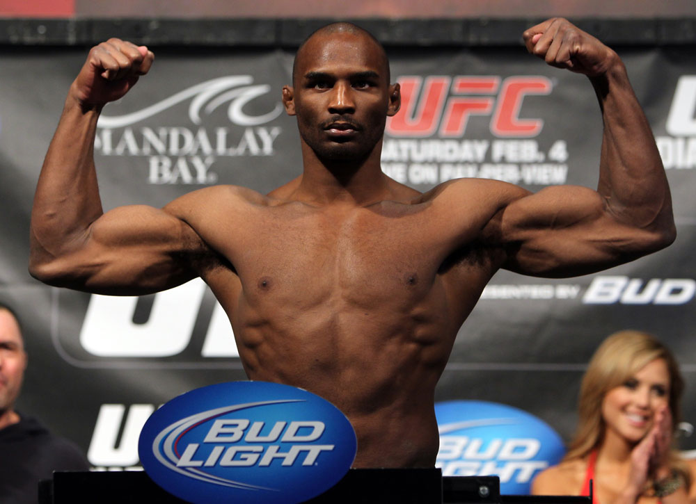 LAS VEGAS, NV - FEBRUARY 03:  Clifford Starks weighs in during the UFC 143 official weigh in at Mandalay Bay Events Center on February 3, 2012 in Las Vegas, Nevada.|2:55:8  (Photo by Josh Hedges/Zuffa LLC/Zuffa LLC via Getty Images) *** Local Caption *** Clifford Starks