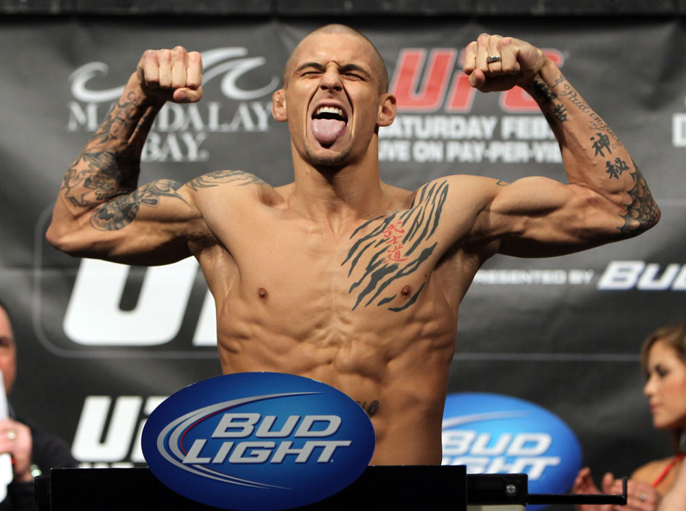 LAS VEGAS, NV - FEBRUARY 03:  Dustin Poirier weighs in during the UFC 143 official weigh in at Mandalay Bay Events Center on February 3, 2012 in Las Vegas, Nevada. (Photo by Josh Hedges/Zuffa LLC/Zuffa LLC via Getty Images) *** Local Caption *** Dustin Poirier